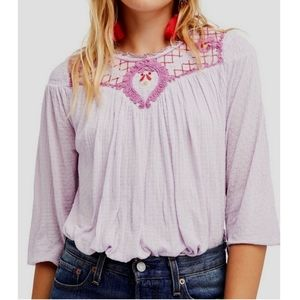 Free People Begonia boho flowy embroidered blouse